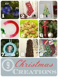 9 Christmas Creations Round Up! YAY!  http://cookandcraftmecrazy.blogspot.com/2013/12/pine-cone-berry-tree-christmas-round-up.html