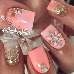Beautiful nail art designs that are just too cute to resist. It's time to try out something new with your nail art. Get Nails, Fancy Nails, Bling Nails, Love Nails, Nail Art Designs, Creative Nail Designs, Creative Nails, Fabulous Nails, Gorgeous Nails