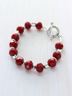 Cranberry Crystal Bracelet by JDarlingJewelry on Etsy, $34.00