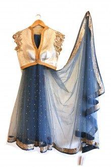 ANJALISHARMA for French Curve Cobalt Blue Sari - scarletbindi.com
