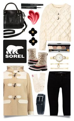 """Introducing the 2015 Winter Collection from SOREL: Contest Entry"" by ittie-kittie ❤ liked on Polyvore featuring Maison Kitsuné, J Brand, SOREL, H&M, Merona, Bobbi Brown Cosmetics, Tory Burch, Dolce&Gabbana, Anne Klein and CARGO"