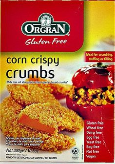 Free of: Gluten, Wheat, Dairy, Egg, Yeast, Soy. VEGAN, GMO free, nut free. No added cane sugar.    Orgran Corn Crispy Crumbs is a quality product that will allow you to achieve crispy golden crumbing of meat, fish or vegetables. Corn Crispy Crumbs provides sesational texture with the additional benefit of 25% less absorption of oil than regular bread crumbs. It is also versatile in sausages, added to sausage meats or as a stuffing base to which you may add your own herbs. Also ideal in savoury or sweet recipes such as crumb bases or as a natural thickener in soups and casseroles.    Shelf life: approx 8 months.    Ingredients: 100% Baked Maize