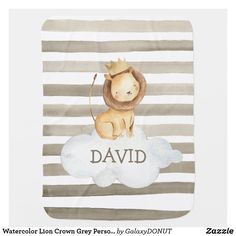 Watercolor Lion Crown Grey Personalized Baby Blanket Baby Shower Gifts, Baby Gifts, Watercolor Lion, Soft Baby Blankets, Baby Monogram, Cool Patterns, Personalized Baby, Snuggles, Baby Names