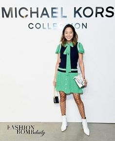 Hot! Or Hmm...: @SongofStyle was also spotted at the @MichaelKors FW 2017 presentation in a green and navy polka dot dress (from the Resort 2017 collection), fishnets and white ankle boots. Did she nail it? #fashionbombdaily #instafashion #instastyle #celebritystyle #fashion #style #realstyle #nyfw #aimeesong #michaelkors #songofstyle
