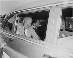 Photograph of General Dwight D. Eisenhower, the Republican nominee for President, in a limousine at Washington National Airport with his running mate, Senator Richard M. Nixon of California., 09/10/1952
