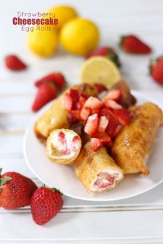 strawberry cheesecake egg rolls with a lemon drizzle