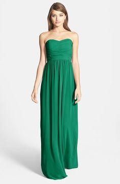 Donna Morgan 'Stephanie' Strapless Ruched Chiffon Gown (Regular & Plus Size) #emerald #green #strapless #chiffon #gown #dress #plus #sale #fashion #bridesmaids