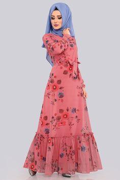 Çiçekli Şifon Elbise AKT3026 Gül Kurusu