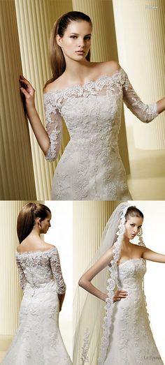 La Sposa off-shoulder lace wedding gown, baju majlis perkahwinan