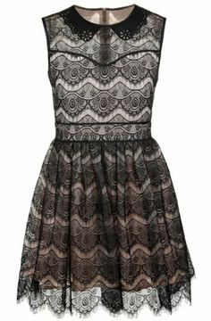 Black Sleeveless Zipper Embroidery Flare Lace Dress