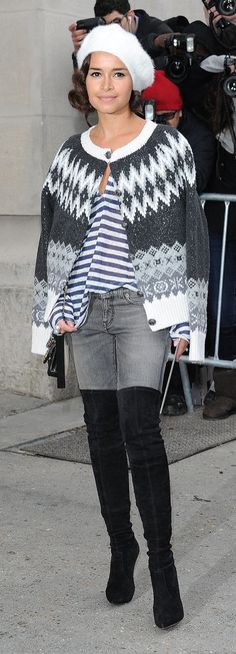 Miroslava Duma knows how to style her over the knee boots