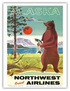 Alaska-Kodiak-Grizzly-Vintage-Northwest-Orient-Airlines-Travel-Art-Poster-Print