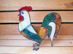 Stained Glass Rooster Rustic 3D Ornament by FleetingStillness