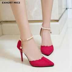 Women's Slip-On Ankle Strap Pointed Toe Casual Heels High Heel Loafers, High Heel Pumps, Women's Pumps, Lace Up Heels, Ankle Strap Heels, Women's Heels, Beaded Shoes, Types Of Heels, Casual Heels