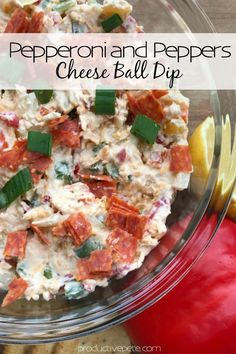This Pepperoni and Peppers Cheese Ball Recipe is a crowd pleaser! It& an easy, make-ahead appetizer for any type of party or holiday gatherings. Cheese Appetizers, Appetizer Recipes, Party Appetizers, Holiday Appetizers, Appetizer Dips, Holiday Recipes, Holiday Ideas, Dinner Recipes, Cheese Ball Recipes