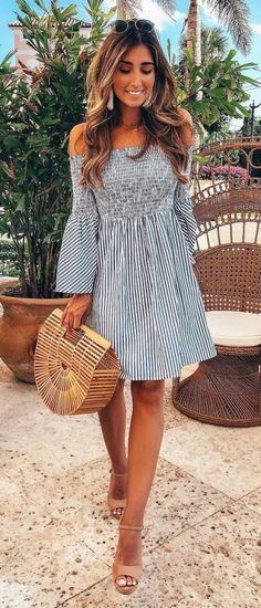 75cc9b7f7c22 Cool Outfit Idea For This Summer Off Shoulder Dress Plus Bag Plus Sandals  Casual Dresses