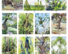 Watercolor forest ACEO tree painting print Artist by OlgaSternyk Watercolor Scenery, Tree Watercolor Painting, Forest Painting, Watercolor Tips, Watercolor Paper, Painting On Wood, Painting Prints, Painting Trees, Art Prints