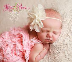 Baptism Headband.Baby Headband.Ivory Shabby Chic by HartsandRoses, $7.95