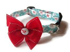 Martha Stewart colors! Trendy Red and Turquoise Floral Dog Collar size by jeanamichelle, $16.00