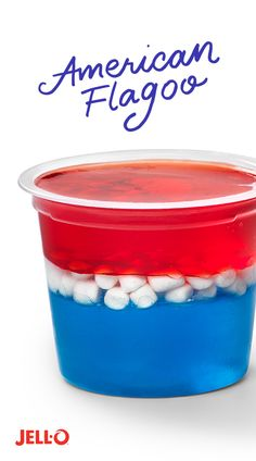 If the American flag was less flagish and more gooish, this is what you'd get: a cup of patriotic fun. You and your little 4th of July flag wavers can have fun making this treat with Strawberry and Blueberry Flavor JELL-O Gelatin Snacks and JET-PUFFED Vanilla MALLOW Bits. Repin for a Flagoo fun time.
