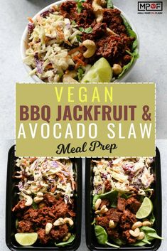 Vegan BBQ Jackfruit & Avocado Slaw Meal Prep recipe - Easy BBQ jackfruit slaw paired with a creamy avocado slaw for the perfect vegan recipe gluten free recipe and summer meal! An easy clean eating recipe. Click The Image To Learn Easy Clean Eating Recipes, Healthy Dinner Recipes, Easy Recipes, Vegetarian Meal Prep, Vegetarian Recipes, Vegan Meals, Vegan Vegetarian, Easy Meal Prep, Salad