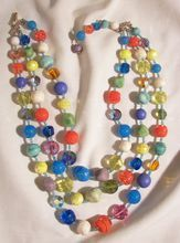 Colorful Fabulous molded art glass and Aurora Borealis Crystal bead 3 strand Necklace