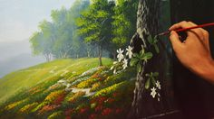 Acrylic Landscape Painting Lesson - Garden and Orchids by JMLisondra