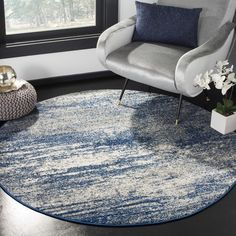 Safavieh Evoke Vintage Modern Abstract Navy / Ivory Distressed Rug (5' 1 Round) | Overstock.com Shopping - The Best Deals on Round/Oval/Square