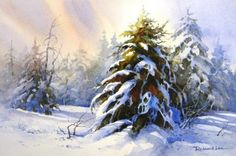 Artist Roland Lee demonstrates how to paint a snow scene in watercolor finished painting