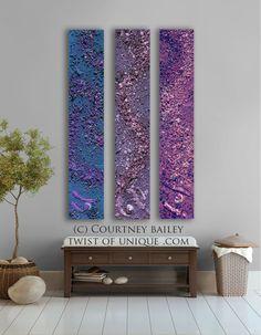 Large Abstract Paintings, 3 panel CUSTOM  wall art- Purple, blue, plum, violet, silver.