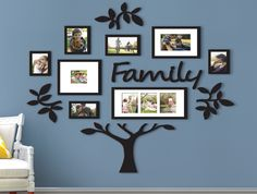 Family Tree Photo Frame Picture Collage Sticker Wall Mount Home Decor Family Tree With Pictures, Family Tree Photo, Family Tree Frame, Photo Tree, Family Photos On Wall, Family Tree Mural, Family Photo Frames, Wall Photos, Photos In Bedroom