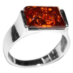4.4g Authentic Baltic Amber 925 Sterling Silver Ring Jewelry s.6 A7159S6