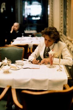 Francois-Marie Banier at Angelina's Tea Shop in Paris. Photos by Eve Arnold.
