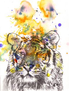 Portrait of a Tiger Watercolor Painting - Original Watercolor Painting Great Children Kids Nursery Art Decor and For Every Tiger Lover