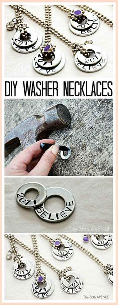 Simple and Fun Necklace Ideas for Teenagers | DIY Stamped Washer Necklaces by DIY Ready at http://diyready.com/27-cool-diy-projects-for-teen-girls/