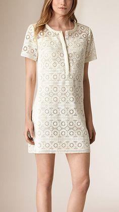 Natural white Cotton Lace Shirt Dress - Image 1