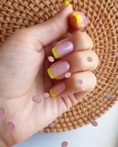 Funky Nails, Cute Nails, Pretty Nails, Yellow Nails, Pastel Nails, Elegant Nails, Stylish Nails, Short Nail Designs, Cute Easy Nail Designs