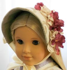 American Girl Doll Clothes - Doll Hat - Dress Bonnet in Sage with Plum Blossoms