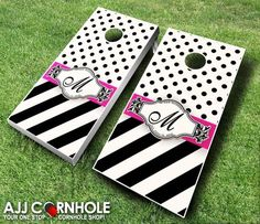 What better way to help celebrate your big day than with a custom cornhole set at your wedding reception! Find it at www.ajjcornhole.com