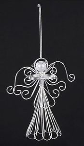 SILVER-METAL-WIRE-ANGEL-w-PEARL-BEAD-HEAD-HOLDING-DOVE-CHRISTMAS-TREE-ORNAMENT