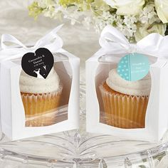 Personalized White Cupcake Boxes - bake your own and give a sweet very personal wedding favor!