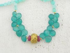 Green Quartz, Peruvian Opal &  Ruby Gemstone Beads Necklace with  24k Gold, Gemstones Necklace