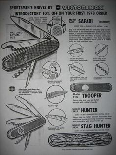 Photo : Victorinox 1978 ad copy for the new 108mm series of knives.