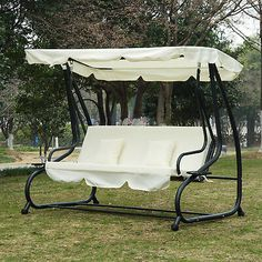 Ultimate relaxing seating option in your garden with a canopy swing seat. Garden Swing Seat, Garden Canopy, Outside Swing, Canopy Swing, Convertible, Banquette, Swinging Chair, Wooden Frames, Baby Strollers