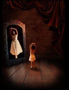 So cute little girl see herself as a big girl ballerina  :)