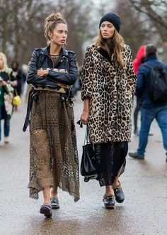 two cute looks together, especially the leopard print coat