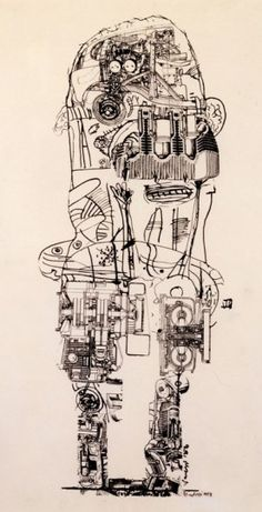 Sir Eduardo Paolozzi – Sculpture Drawing MOTOR FIGURE This is a whole figure drawing with a combination of collage and drawing. Cultura Pop, Illustrations, Illustration Art, Eduardo Paolozzi, Robot, Neo Dada, A Level Art Sketchbook, Mechanical Art, 3d Figures