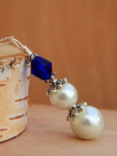 Cobalt Blue necklace pearl drop necklace by SheJustSaidYes on Etsy, $18.00