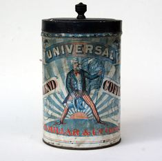 Circa 1876. Antique coffee tin: The Uncle Sam Universal. $395 at Z & K Antiques.