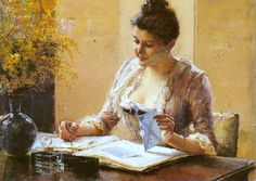 Lady Writing a Letter Albert Edelfelt (Finnish, Oil on panel. This small painting by Edelfelt is a reminder of the central importance of hand-written letters and the writing desk in the bourgeois household. Moise, Small Paintings, Lost Art, Photo Series, Letter Writing, Writing Desk, Old Master, Master Art, Little Miss